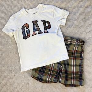 Baby Gap Summer Outfit Plaid Tan 18-24 Months
